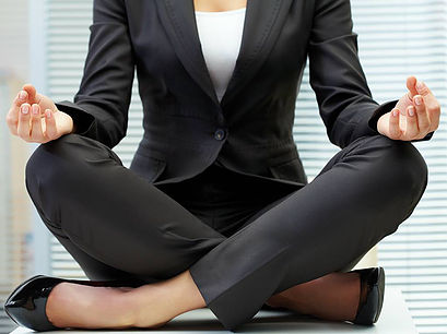 Corporate lady in meditation