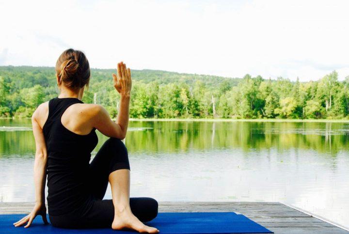 Lady doing hatha yoga